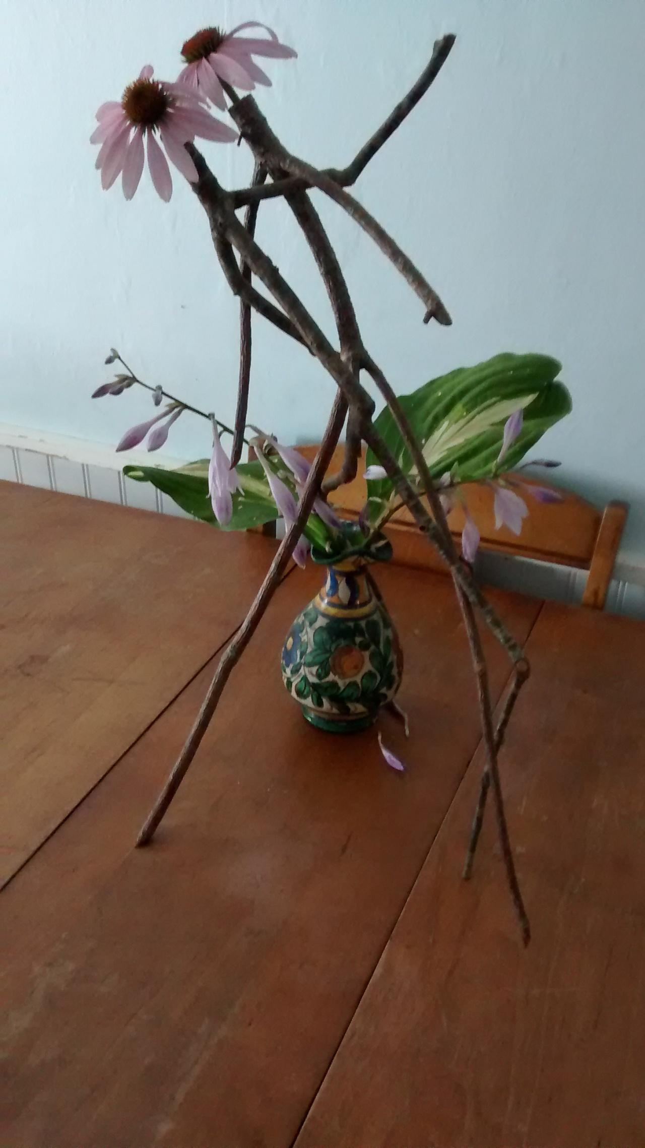 Stick Art August Sculpture #8215 PurpleConeflowers